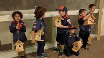 Scouts building birdhouses